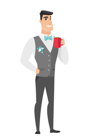 Caucasian smiling groom holding cup of coffee. Full length of groom in a wedding suit drinking coffee. Happy groom with cup of coffee. Vector flat design illustration isolated on white background.