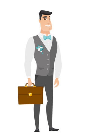 Caucasian groom holding a briefcase. Full length of groom with a briefcase. Widely smiling groom in a wedding suit holding a briefcase. Vector flat design illustration isolated on white background. Illustration