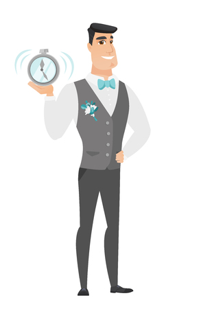 fiance: Caucasian groom in a wedding suit showing a ringing alarm clock. Full length of groom with an alarm clock. Groom holding an alarm clock. Vector flat design illustration isolated on white background. Illustration