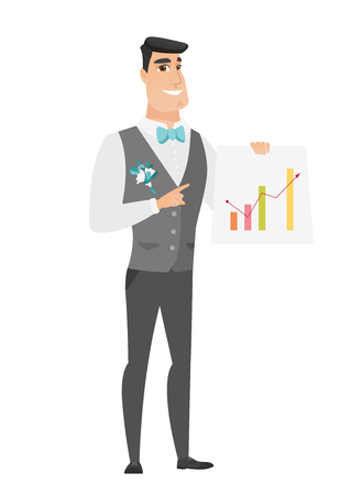 Caucasian groom giving a business presentation and showing a financial chart. Full length of young groom pointing at a financial chart. Vector flat design illustration isolated on white background.