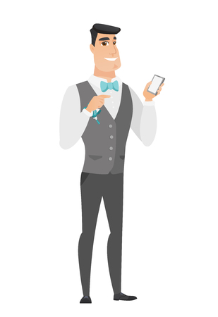 Happy caucasian groom holding a mobile phone and pointing at it. Full length of groom with a mobile phone. Groom using a mobile phone. Vector flat design illustration isolated on white background.