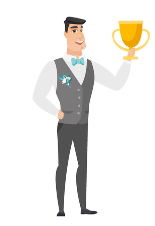 fiance: Caucasian groom in a wedding suit holding a golden trophy. Full length of young groom with a trophy. Happy groom celebrating with a trophy. Vector flat design illustration isolated on white background