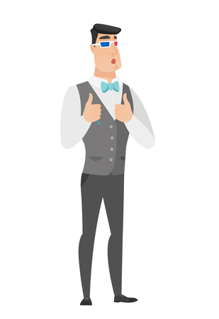 Amazed caucasian groom watching movie in 3D glasses. Full length of young surprised groom wearing 3d glasses and giving thumbs up. Vector flat design illustration isolated on white background.