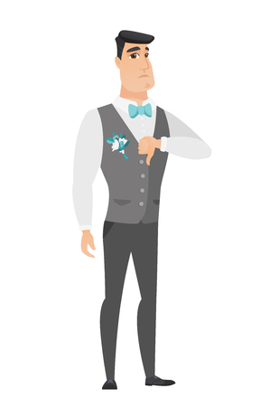 Disappointed caucasian groom with thumb down. Full length of groom in a wedding suit showing thumb down. Young groom with his thumb down. Vector flat design illustration isolated on white background.
