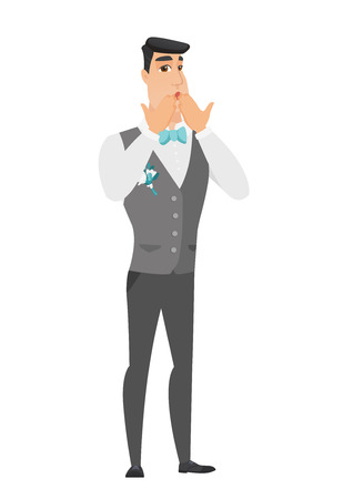 Shoked caucasian groom covering his mouth with hands. Full length of young shoked groom. Groom with a shocked facial expression. Vector flat design illustration isolated on white background.