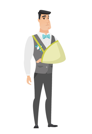 Injured caucasian bridegroom wearing an arm brace. Bridegroom with broken arm in sling. Full length of young bridegroom with broken arm. Vector flat design illustration isolated on white background.