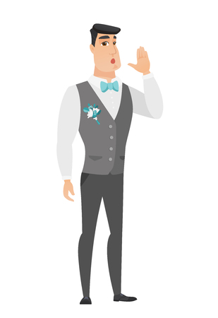 Caucasian groom lost and calling for help. Full length of groom in a wedding suit calling for help. Groom in trouble calling for help. Vector flat design illustration isolated on white background. Illustration