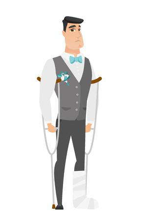 Injured caucasian bridegroom with broken leg on crutches. Groom with broken leg in bandages. Full length of bridegroom with broken leg. Vector flat design illustration isolated on white background. Illustration