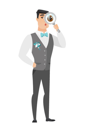 shoked: Shoked groom with magnifying glass. Full length of groom with magnifying glass. Groom in a wedding suit looking through a magnifying glass. Vector flat design illustration isolated on white background