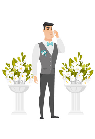 Young caucasian sorrowful groom in a suit crying during wedding ceremony. Groom waiting for a bride and crying in front of wedding altar. Vector flat design illustration isolated on white background.