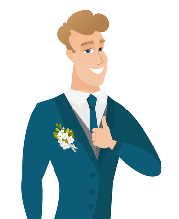 Young caucasian groom giving thumb up.