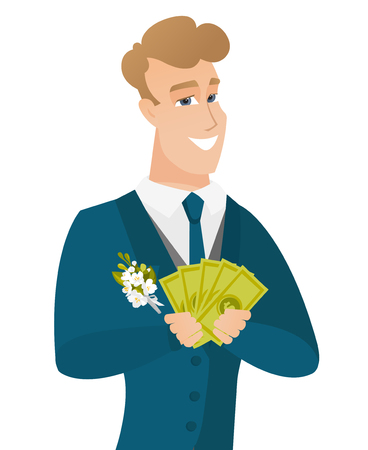Young caucasian groom holding money.