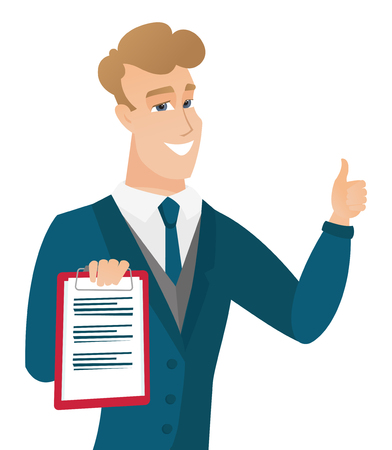 Groom holding clipboard and giving thumb up. Illustration