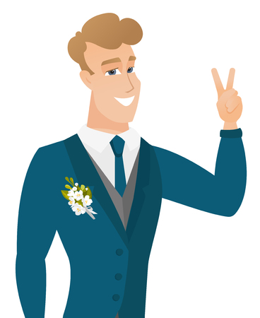 Young caucasiangroom showing the victory gesture. Stock Vector - 81366576