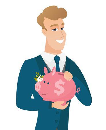 Caucasian groom holding a piggy bank. Иллюстрация