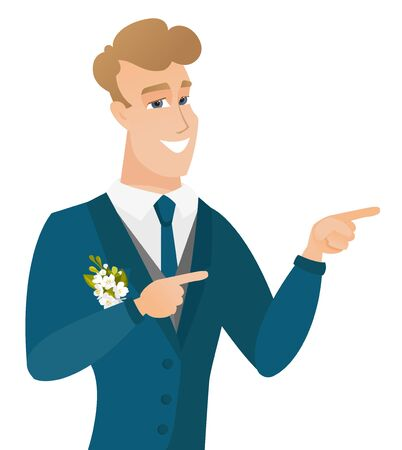 Young caucasian groom pointing to the side. Иллюстрация