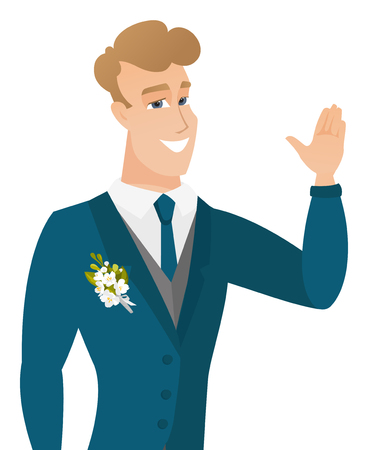 Young caucasian groom waving his hand.