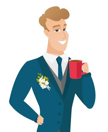 Young caucasian groom holding cup of coffee. Illustration