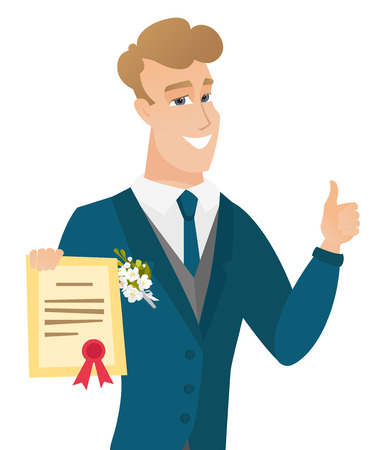 Young caucasian groom holding a certificate.