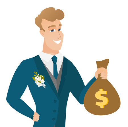 Young caucasian groom showing a money bag.