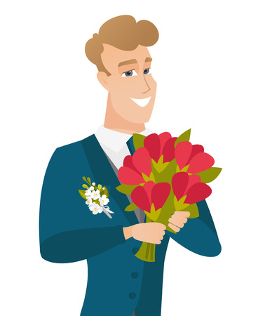Young caucasian groom with bridal bouquet.