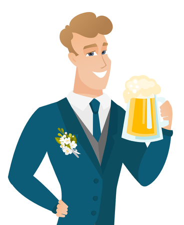 Young caucasian groom drinking beer. Illustration