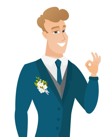 Young caucasian groom showing ok sign. Illustration