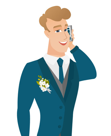 Young caucasian groom talking on a mobile phone.