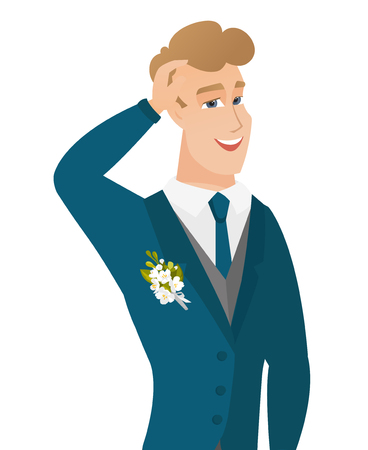 Young caucasian groom laughing. Illustration