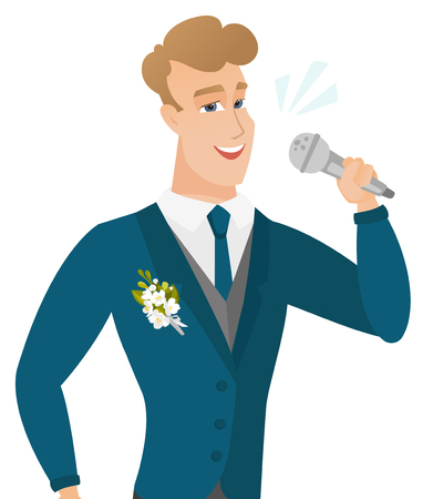 Young caucasiangroom singing to the microphone. Stock Vector - 81366600
