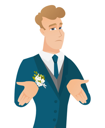 Young caucasian confused groom shrugging shoulders Illustration