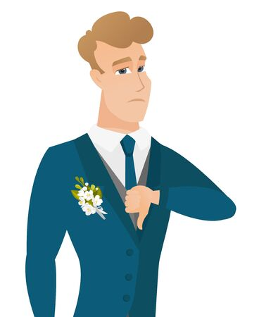 Disappointed caucasian groom with thumb down. Stock Vector - 81366604
