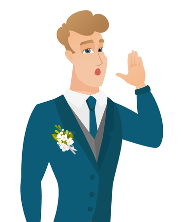 Young caucasian groom calling for help. Illustration