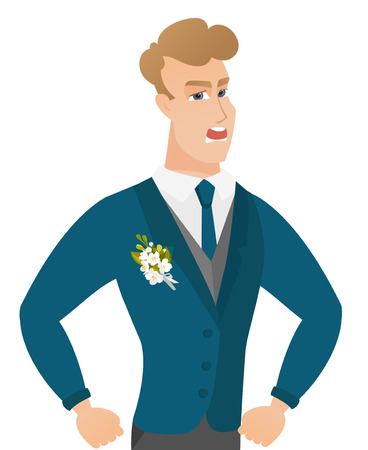Young caucasian angry groom screaming. Illustration