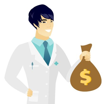 Young asian doctor holding a money bag. Illustration