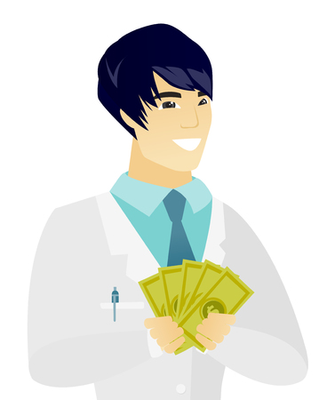 Young asian doctor holding money. Illustration