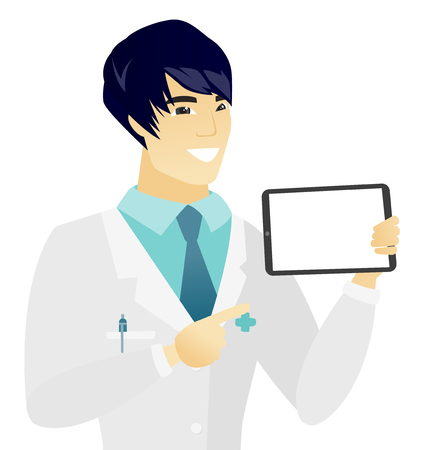 Young doctor pointing at tablet computer. Doctor with tablet computer.
