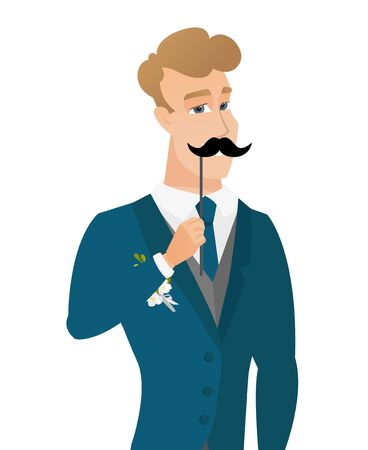 whisker characters: Young caucasian groom with a fake mustache.