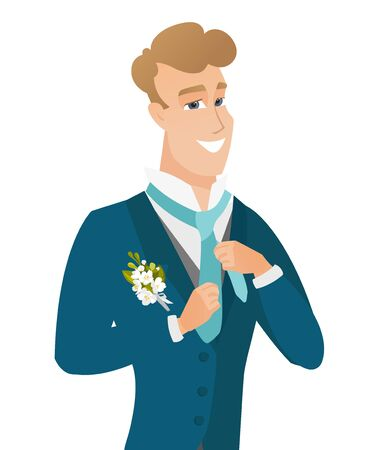 wedded: Young caucasian cheerful groom adjusting tie.