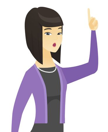 Business woman with open mouth pointing finger up. Illustration