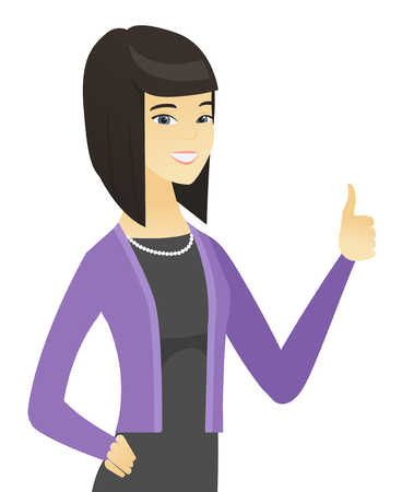 Young asian business woman giving thumb up. Ilustração