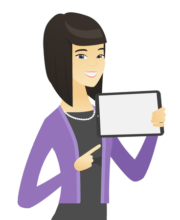 businessperson: Asian business woman holding tablet computer. Illustration