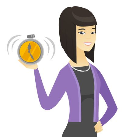 Asian business woman holding alarm clock. Illustration