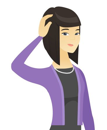 Young asian business woman scratching her head. Illustration