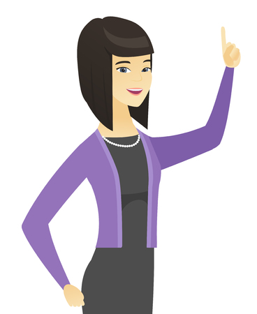 Asian business woman pointing her forefinger up.