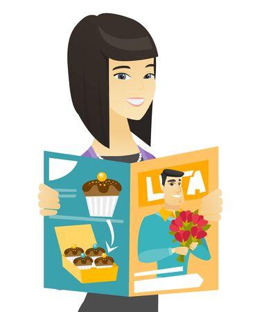 Successful asian business woman reading magazine.