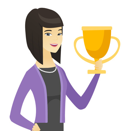 Asian business woman holding a trophy.