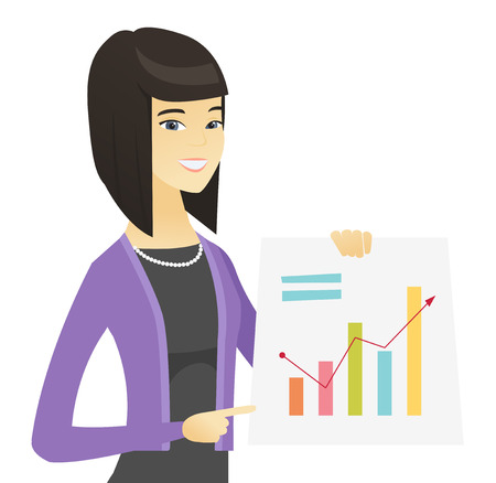 Asian business woman showing financial chart.