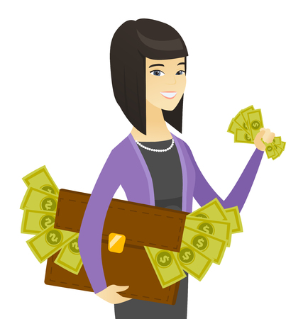 Asian business woman with briefcase full of money. Illustration