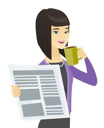 Business woman with cup of coffee and newspaper. Illusztráció